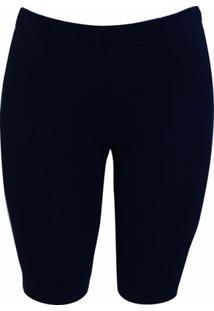 Bermuda Pau A Pique Lisa - Feminino-Azul Escuro