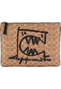 Coach Clutch Com Estampa De Monstro - Neutro