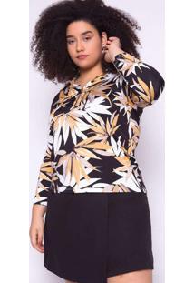 Blusa Almaria Plus Size Ela Linda Estampada Amarel