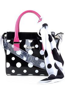 Bolsa Petite Jolie Handbag Feminina - Feminino-Preto+Pink