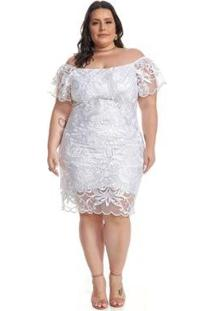 Vestido Lala Dubi Plus Size Midi Tule Arabesco - Feminino-Branco