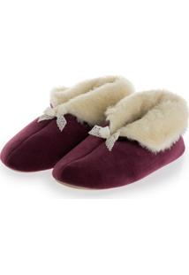 Pantufa Pel Plush Bordo/36