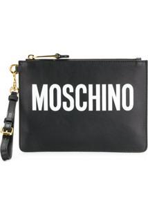 Moschino Clutch De Couro Com Logo - Preto