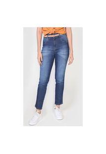 Calça Jeans Biotipo Mom Pespontos Azul
