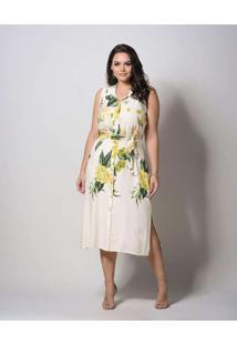 Vestido Almaria Plus Size New Umbi Midi Floral Beg