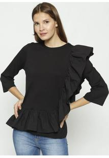 Blusa Lisa Com Babados- Preta- Colccicolcci