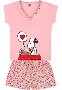Pijama Feminino Em Malha De Algodão Estampado Snoopy E Hering