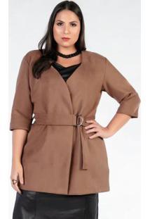 Casaco Plus Size De Camurça Caramelo