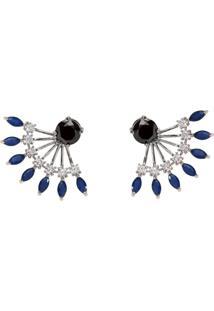 Brinco Ear Jacket The Ring Boutique Cristais Azul Safira Zp Rã³Dio Ouro Branco - Azul - Feminino - Dafiti