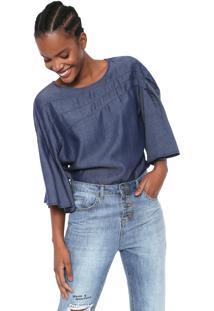 Blusa Jeans Colcci Pregas Azul
