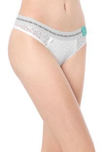 Calcinha Calvin Klein Underwear Fio Dental Conversational Branca