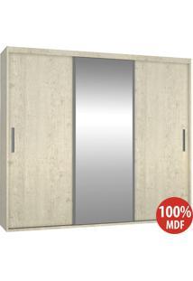 Guarda Roupa 3 Portas Com 1 Espelho 100% Mdf 1986E1 Marfim Areia - Foscarini