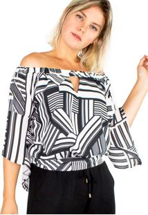 Blusa Modisch Off Shoulder Geométrico P&B