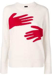 Joseph Suéter Com Mão Em Padronagem - Branco