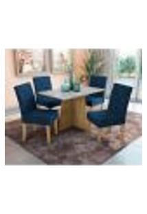 Conjunto De Mesa De Jantar Com Tampo De Vidro E 4 Cadeiras Glaston Veludo Azul Marinho E Freijó