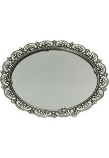 Bandeja Redonda Decorativa Btc Em Metal Com Cristal 26,5 X 26 Cm - Cinza Verde