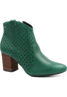 Bota Cano Curto Dakota Ankle Boot Zíper Feminina - Feminino-Verde