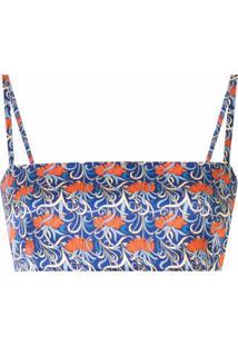 Alexis Blusa Radja Cropped Com Estampa Floral - Azul