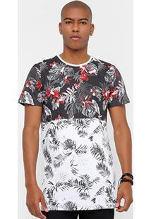 Camiseta Coca-Cola Long Recorte Flowers Masculina - Masculino
