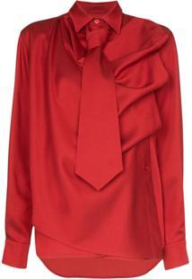Pushbutton Blusa Assimétrica Com Drapeado - Vermelho