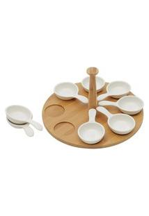 Conjunto Bon Gourmet De 8 Petisqueiras De Porcelana Em Suporte Circular De Bambu 25 Cm X 13 Cm Branca