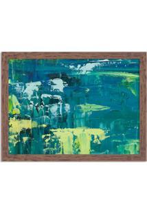 Quadro Decorativo Abstrato Moderno Azul Pincel Verde Madeira - Médio