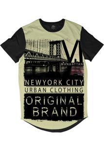 Camiseta Longline Bsc New York City Original Sublimada Preto