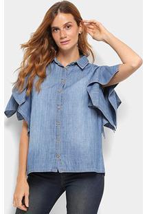Camisa Jeans Colcci Manga Curta Feminina - Feminino-Azul Piscina