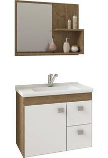Conjunto Para Banheiro Com 1 Porta E 2 Gavetas Hortência-Mgm - Carvalho / Branco