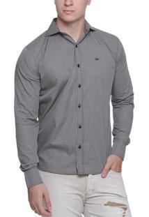 Camisa Alfaiataria Burguesia Quadriculada Bege/Preto