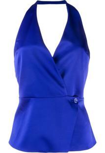 Blanca Blusa Com Transpasse - Azul