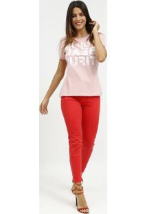 "Camiseta ""You'Re Beautiful""- Rosa Claro & Branca- Cococa-Cola"