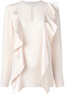 Givenchy Blusa De Seda Com Babado - Rosa