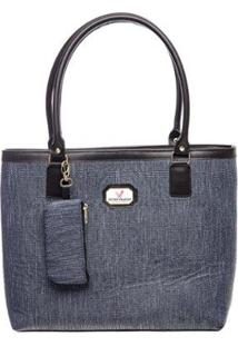 Bolsa Victor Valencia Quadrada Textura Feminina - Feminino-Azul