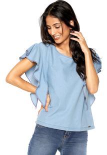 Blusa Jeans Dzarm Babado Azul
