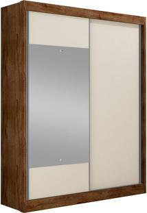 Guarda-Roupa Solteiro Com Espelho 2 Portas Falco Gold Bg- Novo Horizonte - Canela / Off White