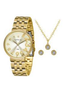 Kit De Relógio Analógico Lince Feminino + Brinco + Colar - Lrgh100L Kw51C2Kx Dourado