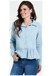 Camisa Feminina Jeans Babado Marisa