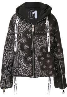 Khrisjoy Paisley Hooded Padded Jacket - Preto