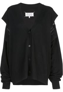Maison Margiela Cut-Out Knitted Cardigan - Preto