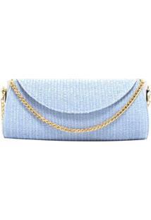 Bolsa Carteira De Palha Bianca Andrade Feminina - Feminino-Azul