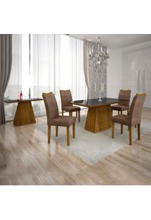 Conjunto Sala De Jantar Completa Com Mesa Tampo Vidro, 4 Cadeiras E Aparador Pampulha Leifer Canela/Linho Marrom/Preto