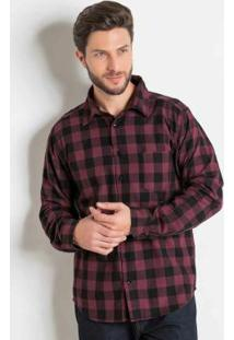 Camisa Xadrez Bordô Em Flanela Actual