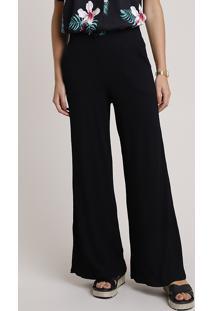 Calça Feminina Básica Pantalona Canelada Com Bolsos Preta