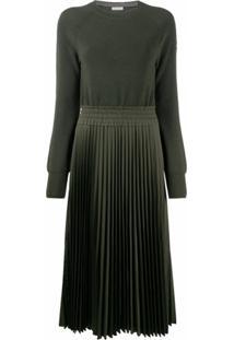Moncler Vestido De Lã Virgem - Verde