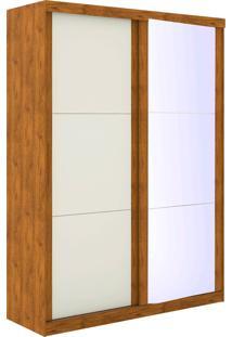 Guarda Roupa Prático 2 Portas De Correr C/ Espelho Nature Off White Madeirado Robel Móveis