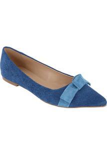 Sapatilha Em Couro Com Laço - Azul & Azul Claroluiza Barcelos