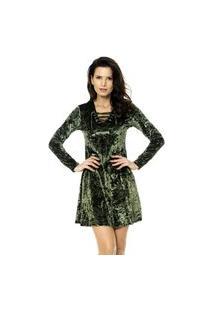 Vestido Bisô Ilhós Veludo Verde