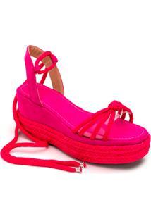 Sandália Anabela Salto Médio Em Camurça Pink Com Transparência - Kanui