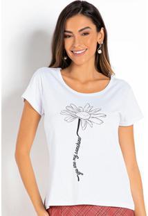 Blusa T-Shirt Branca Com Estampa Localizada